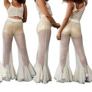 White fishnet flared bell bottoms rave pants sheer